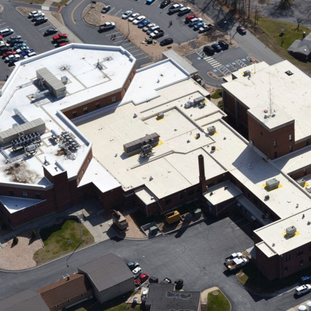 Drone picture of a fibertite roof on a hospital
